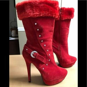 Wild Rose Stiletto Ankle Boots Red Fur Trim 7
